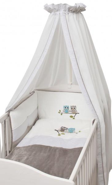 Eulen taupe Sommer-Bett Set - 3 tlg