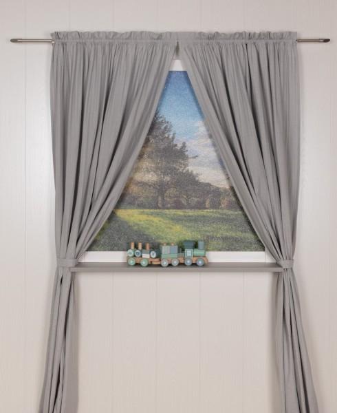 Pünktchen Vorhangschal 2 tlg 100 x 240 cm grau