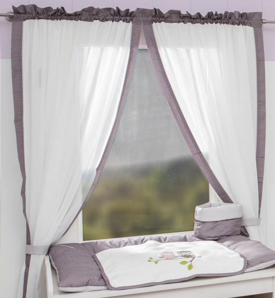Eulen rosa Vorhang, 2 Schlaufenschals je 100x240