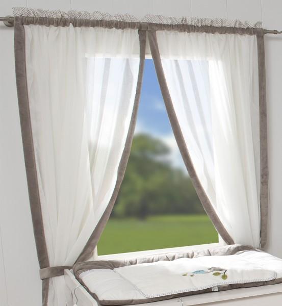 Eulen taupe Vorhang, 2 Schlaufenschals je 100x240